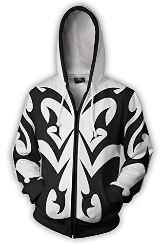 Printed Heart - Kingdom Hearts Sora Printed Hooded Sweatshirt Jacket Pullover Cosplay Costume S-5XL (4XL, Xemnas)