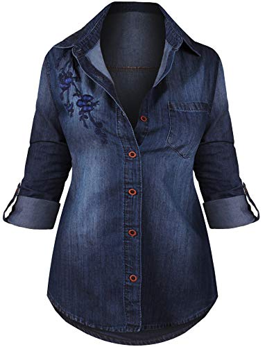 HOT FROM HOLLYWOOD Women's Long Sleeve Western Button Up Casual Fitted Denim Washed Tunic Top