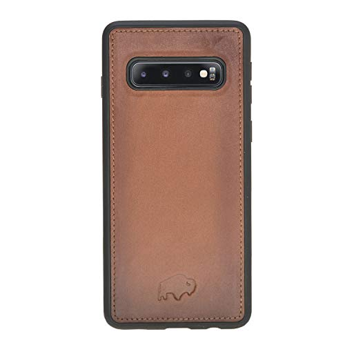 (Burkley Case, 360 Degree Leather Snap Case Back Cover Designed for Samsung Galaxy S10+ Plus (6.4 inch), Burkley Case Hand-Wrapped in Premium Turkish Leather (Burnished Tan))