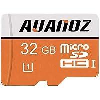 Tarjeta Micro SD de 32 GB Auanoz Micro SDHC Clase 10 UHS-I Tarjeta De Memoria De Alta Velocidad Para Teléfono, Tableta y PC - Con Adaptador (Naranja-32gb)