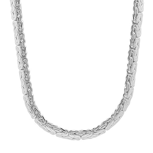 """6mm 925 Sterling Silver Nickel-Free 2.4mm Flat Bali Byzantine Link Italian Chain, 24"""" + Cleaning Cloth"""