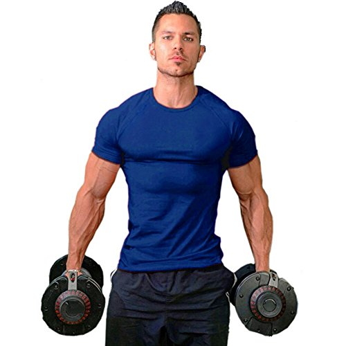 ZUEVI Men's Cotton Slim Fit Athletic Bodybuilding T-Shirts (Blue-XL) ()