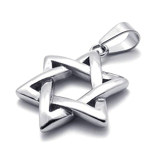 jonline24h Polished Stainless Steel Necklace Lucky Star of David Pendant - Silver, 18
