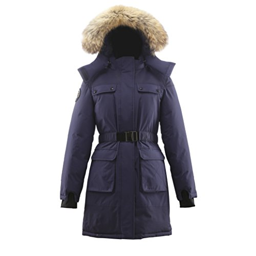 Triple F.A.T. Goose Arkona Womens Hooded Arctic Parka With Real Coyote Fur (Large, Navy) by Triple F.A.T. Goose