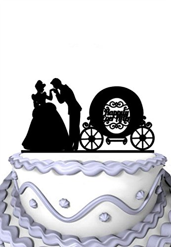 Cake Topper Carriage Wedding - Meijiafei Wedding Cake Topper - Humble Girl with Carriage Happily Ever After Inspired Party Decoration - Soiree Collection