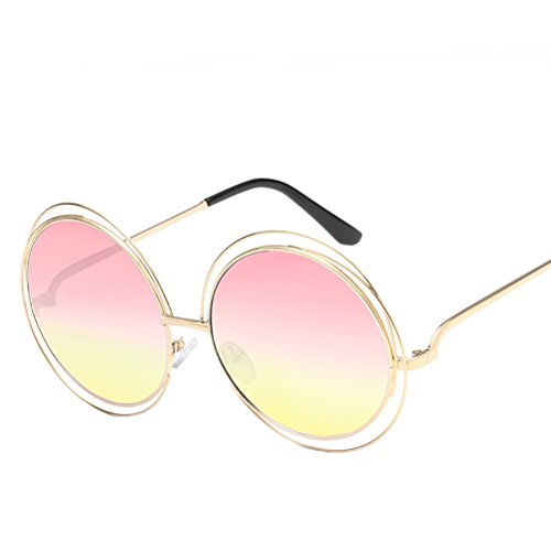 with pink womens for de Zhhyltt metal Round soleil frame mens Glasses des amp;yellow Case Gold lunettes sunglasses vZZ1S