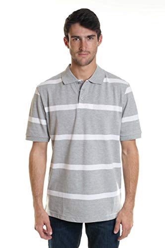 YAGO Men's Short Sleeve 3 Buttons Striped Pique Polo Shirt New (White/Grey, Large) ()