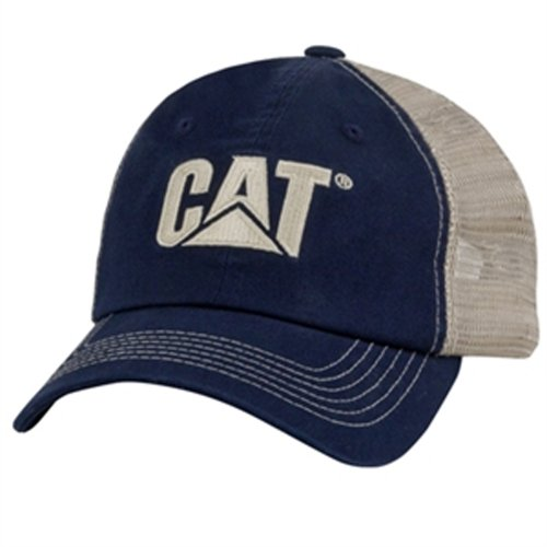 Caterpillar CAT Blue & Khaki Twill and Nylon Mesh Cap