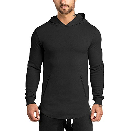 LANGCHEN Men's Gym Workout Hoodie Training Sports Pullover With Zipper Pockets Hoody
