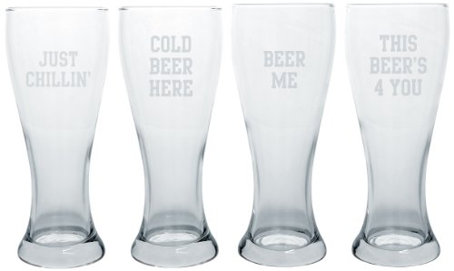 Glasses Concepts Cathys Pilsner - Cathy's Concepts Pilsner Glass, Cold Beer Here, Set of 4