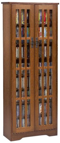 Leslie Dame M-477W High Capacity Inlaid Glass Mission Style Multimedia Storage Cabinet, Walnut