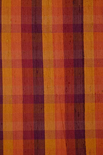 Mustard Gold Check Plaid Silk Shantung 90 Fabric