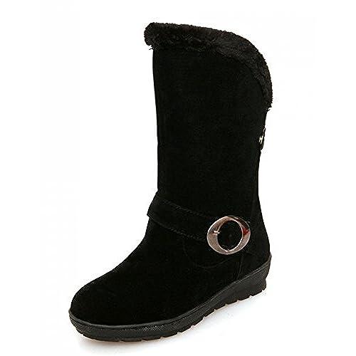 Women's Warm Round Toe Platform Buckle Flat Slip On Mid Calf Snow Boots Shoes
