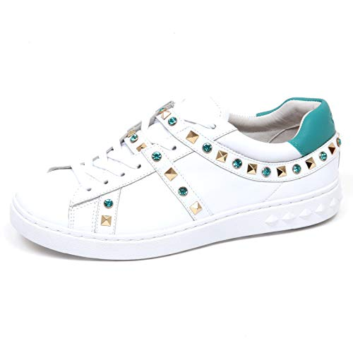 Sneaker Ash White Scarpe turquoise turchese Bianco E8744 Borchie Shoe Play Donna Woman A6qdABZ