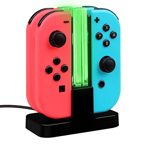Fintie Charging Dock for Nintendo Switch Joy-Con, [LED Indication] Joy-Con Controller Charger Station with Type C Cable (Black)