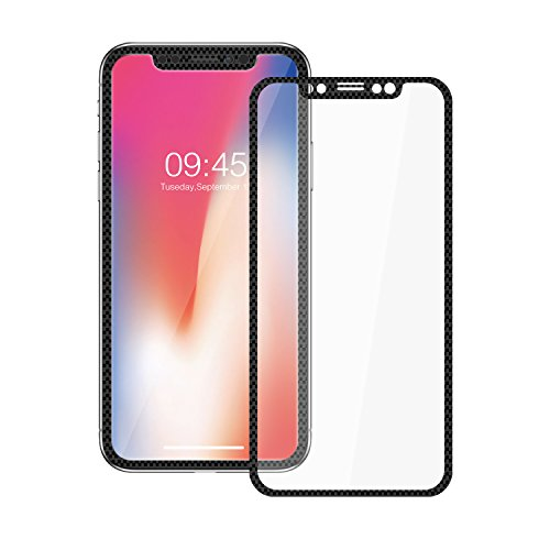 iPhone X Screen Protector,ChuangSiAo iPhone X Carbon Fiber Screen Protector Tempered Glass Film Full Coverage Anti-Fingerprint Anti-Spy (Carbon Tempered)