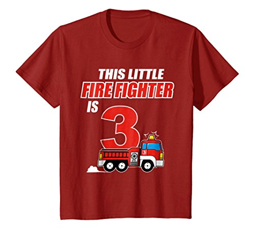 Fireman Tee Shirts (Kids 3rd Birthday Boys Firefighter Kids T-Shirt Fireman 3 Years 6 Cranberry)