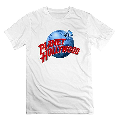 Tiovcoo Cool Mens Planet Hollywood Short-Sleeve Tee Tshirt Cotton White