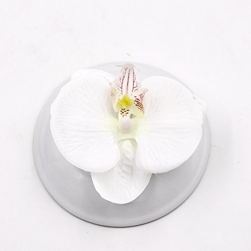 Fake Flower head Artificial Flower 8cm Silk Butterfly Orchid Head For Wedding Home Decoration DIY party festival Decor Flores Cymbidium Handmade 20pcs (white) (Cymbidium Orchid Silk Flower)