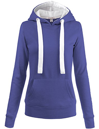 Luna Flower Women's Plus Size Pullover Fleece Interior Kangaroo Pocket Hoodies Blue 3X (GHDW012) ()