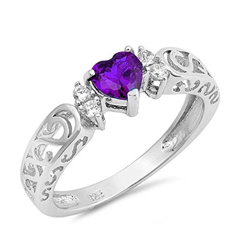Filigree Swirl Heart Promise Engagement Ring Simulated Amethyst Sapphire Round CZ 925 Sterling Silver ()