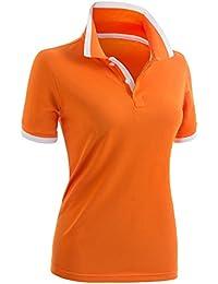 de28500a9 Women's Polo Shirt Casual 2-Button Short Sleeve Point Collar