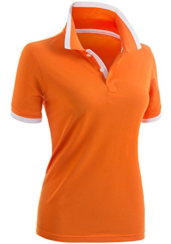 (CLOVERY Women's Casual 2-Button Short Sleeve Point Collar Polo Shirts Orange US M/Tag M)