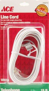 Round Phone Line Cord - PHONE LINE 15' M/M WHITE