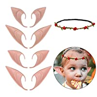 HAHAone 4 Pair Elf Ears Fairy Ears Cosplay Anime Party Costume and Elf Garland, Pixie Ears Goblin EarsHalloween Costume Accessory Party Favors