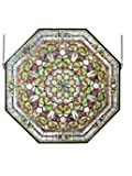 Meyda Home Decorative 35''W x 35''H Front Hall Floral Stained Window Glass -107225