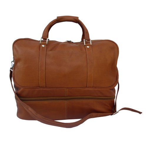 Piel Leather False-Bottom Sports Bag, Saddle, One Size by Piel Leather