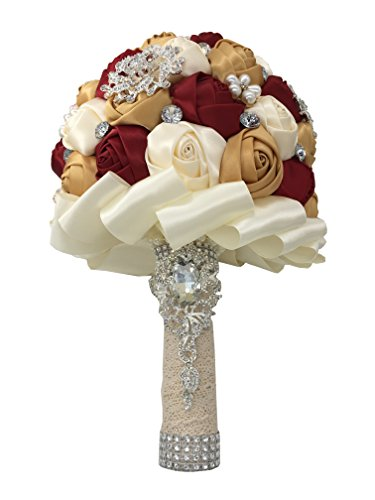 JACKCSALE Wedding Bride Bridal Bouquet Brooch Bouquet Bridesmaid Valentine's Day Bouquet Confession (D453 Wine red+Golden)