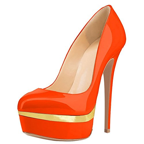 Women Double Platform Pumps Closed Toe Stiletto High Heels Dress Shoes Orange and Gold Size 10 (9 Inch High Heels)