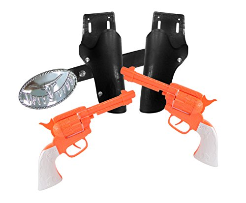 Maxx Action Western Series Toy Cap Pistol Playset with 2 Cap Shooting Pistols, Western Belt with Holster and Western Belt Buckle uses 8-shot Ring Caps, Blaze Series Shippable to NY and CA ()