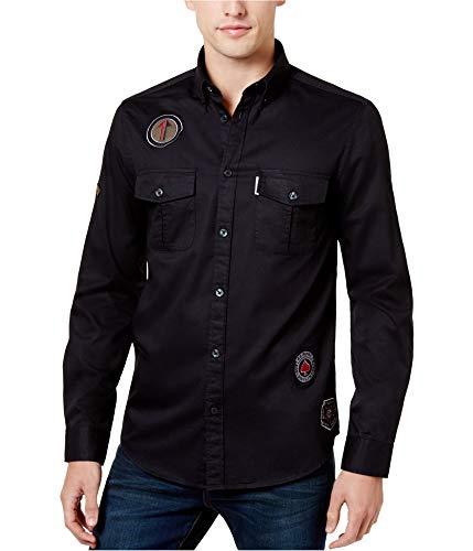 - Ben Sherman Men's Longsleeve Patch Archive Shirt, Black XXL