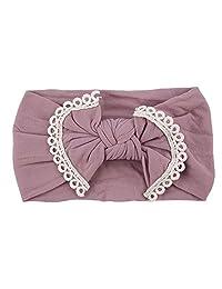 Idalinya Baby Headband Cute Baby Infant Toddler Nylon Headwear Super Soft Bowknot Headband Hairband(Purple gray)