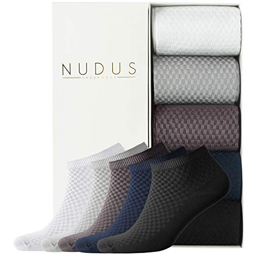 NUDUS Men's Bamboo Ankle Socks, 5-Pair Gift Box, Cute No Show, Low Cut, Soft and Non Slip