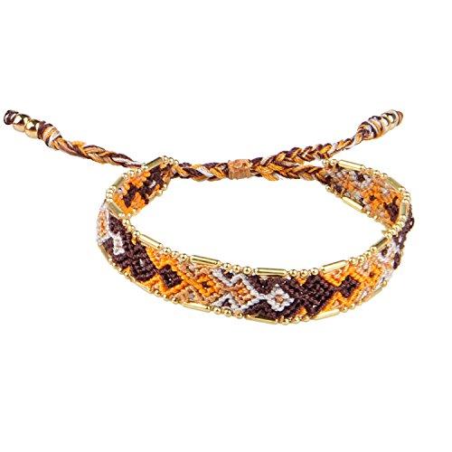 KELITCH Brown/Orange/White Boho Handmade Woven Braided Friendship Bracelet (Braided Friendship Bracelet)