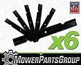 MowerPartsGroup (6) Notched Hi Lift Blades Replace Bad Boy 038-6050-00 60'' Deck