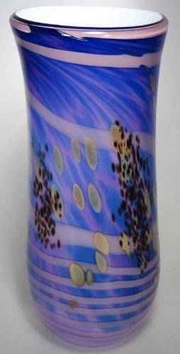 Mocha Spiral - Tall Purple Vase w/ Pink Spirals & Mocha Accents