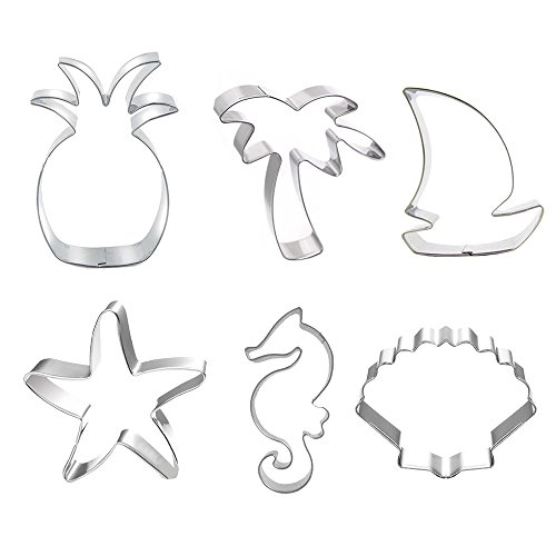 - Beach Themed Cookie Cutter Set - Set of 6 - Palm Tree, Starfish, Seashell, Seahorse, Sailboat and Pineapple - in Durable Stainless Steel