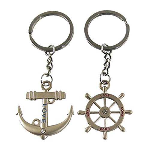 JewelBeauty Romantic Metal Silver Nautical Steering Wheel Anchor & Love Boat Rudder Helm Couple Keychain with Gift Box Sweetheart Pendant Lovers Key Ring Best for Valentine's Day Wedding -