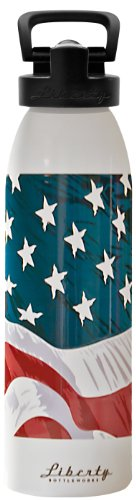 - Liberty Bottleworks W.O.W. Flag Aluminum Water Bottle, Made in USA, 24oz, Pure, Sport Cap