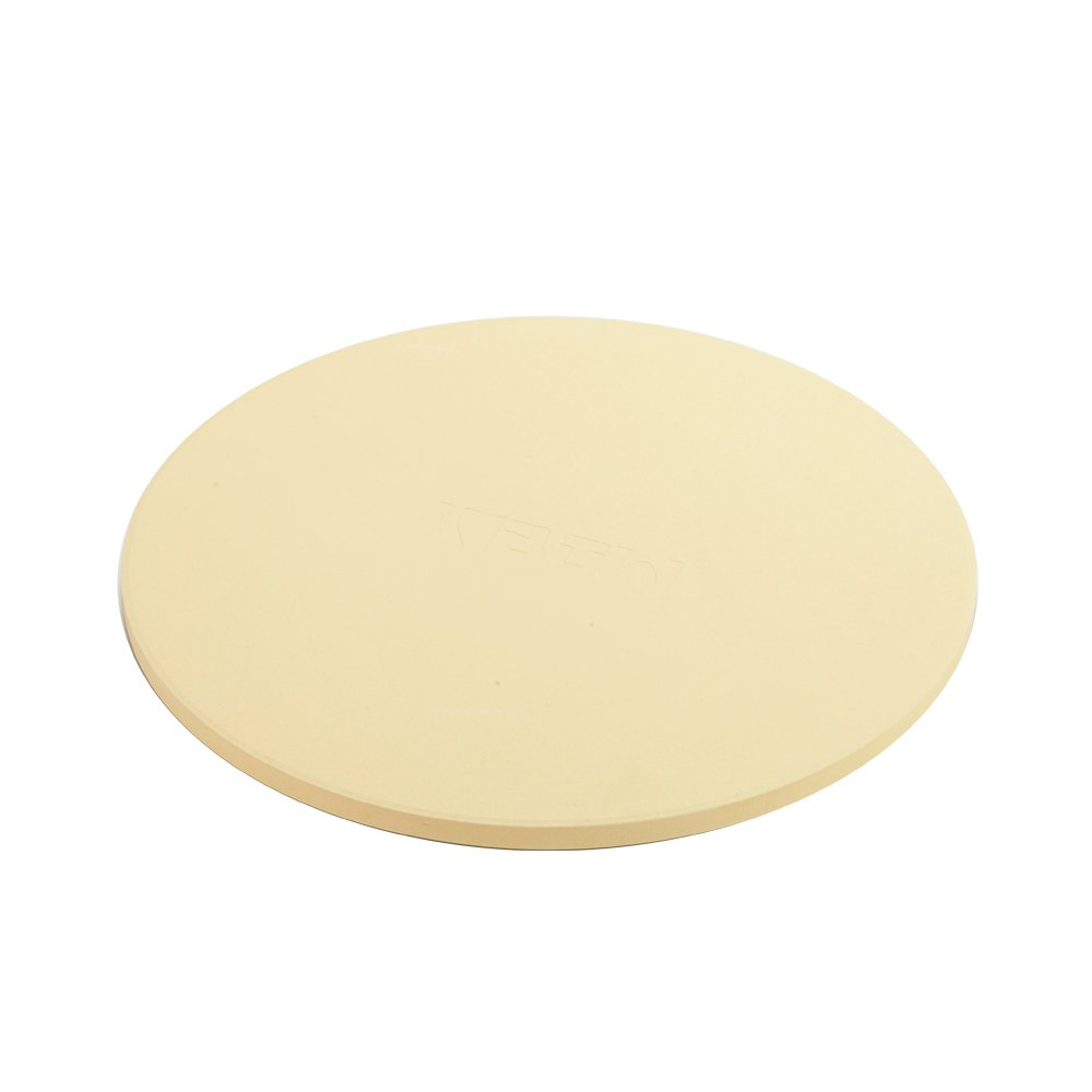 KIBOW 15'' Round Cordierite Ceramic Pizza Grilling Stone for Ovens & Grills
