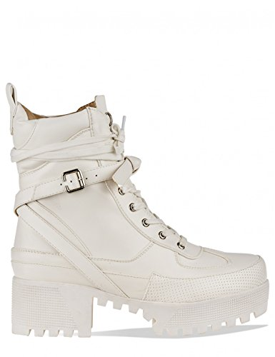 LAMODA Womens Chunky Platform Lace up Biker Ankle Boots in PU White