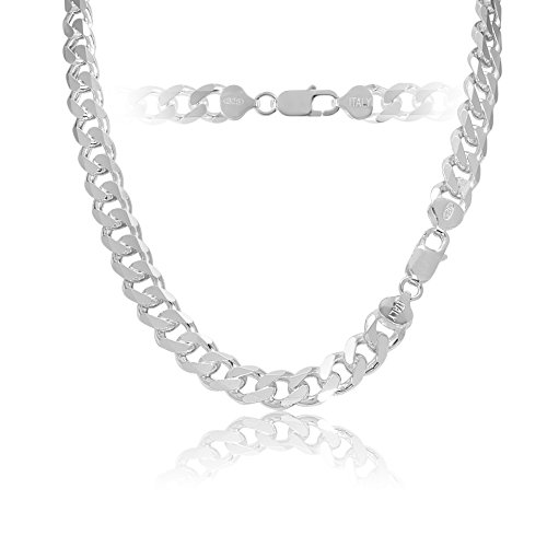 KEZEF Creations 925 Sterling Silver Cuban Curb Link Italian Chain