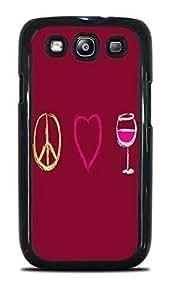 Peace Love Wine Black Hardshell Case for Samsung Galaxy S3