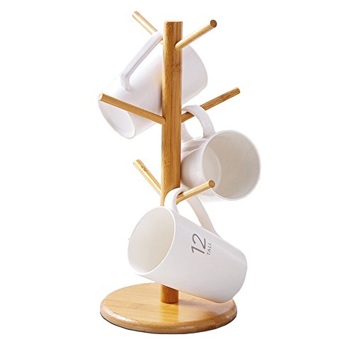 LifeCom Bamboo Mug Rack Tree, Organic Bamboo Mug Holder, Mug Hook,Mug Stand,Coffee Cup Dryer with 6 Hooks ()