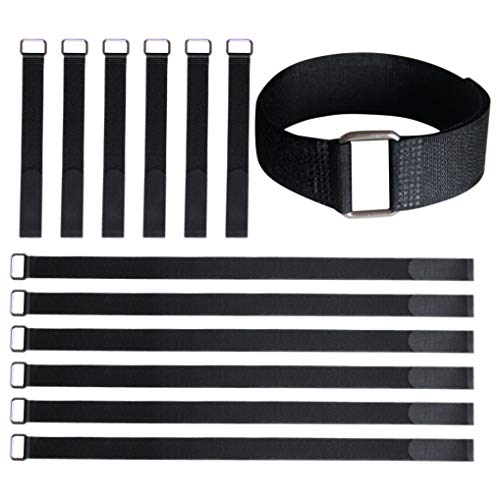 Kawasaki Travel Rod - VIGAER 24&12 Inch Reusable Fastening Cable Straps, 12 Pcs Securing Straps Adjustable Nylon Hook and Loop Cinch Cable Ties Down with Metal Buckle