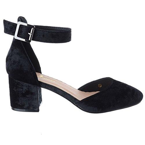 Clsicos En Sandalias Cerrada Aplastado Tobillo Punta Nmeros Media Varios Tacn Mujer Negro Terciopelo Tira Baja Bloque Zapatos Nuevo 8TnIqTUWw7